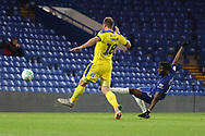 AFC Wimbledon striker James Hanson (18) hitting the crossbar during the EFL Trophy match between U21 Chelsea and AFC Wimbledon at Stamford Bridge, London, England on 4 December 2018.