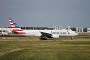 N787AL American Airlines, Boeing 777 at Malpensa airport, Milan, Italy