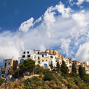 The town of Sperlonga on a hill which overlooks the Italian coast.