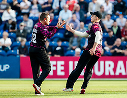 /gl52/ celebrates taking the wicket of Chris Cooke of Glamorgan<br /> <br /> Photographer Simon King/Replay Images<br /> <br /> Vitality Blast T20 - Round 1 - Glamorgan v Somerset - Thursday 18th July 2019 - Sophia Gardens - Cardiff<br /> <br /> World Copyright © Replay Images . All rights reserved. info@replayimages.co.uk - http://replayimages.co.uk