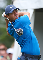 June 24, 2018 - Cromwell, Connecticut, United States - Rory McIlroy tees off the first hole during the final round of the Travelers Championship at TPC River Highlands. (Credit Image: © Debby Wong via ZUMA Wire)