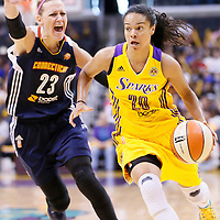 03 August 2014: Los Angeles Sparks guard Kristi Toliver (20) drives past Connecticut Sun guard/forward Katie Douglas (23) during the Los Angeles Sparks 70-69 victory over the Connecticut Sun, at the Staples Center, Los Angeles, California, USA.