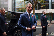 Brexit Party leader Nigel Farage arrives at the launch of the Brexit Partys manifesto today in Central London on 1st November, 2019 in London, England,Unitied Kingdom. Britain goes to the polls on 12th December, 2019 in a rare pre-Christmas general election.