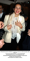PRINCESS OLGA OF GREECE at a party in London on 18th November 2003.<br /> POS 147