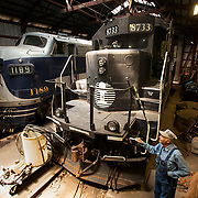 Monticello Railway Museum General Manager Syl Keller looks over engines they use on their railway in Monticello, Illinois. Nathan Lambrecht/Journal Communications