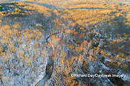 63877-01412 Aerial view of winter forest and creek Stephen A. Forbes State Park Marion Co. IL