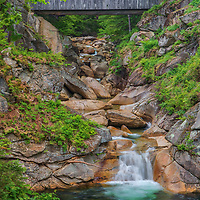 New England photography of the Sentinel Pine Covered Bridge and pool which is part of an easy loop trail through Flume Gorge in Franconia Notch State Park of the New Hampshire White Mountains.<br /> <br /> Beautiful New Hampshire fine art photography of a hiking trail in the New Hampshire White Mountains Franconia Notch State Park Flume Gorge Sentinel Pine Covered Bridge are available as museum quality photography prints, canvas prints, acrylic prints, wood prints or metal prints. Fine art prints may be framed and matted to the individual liking and interior design decorating needs:<br /> <br /> https://juergen-roth.pixels.com/featured/new-hampshire-flume-gorge-sentinel-pine-covered-bridge-juergen-roth.html<br /> <br /> Good light and happy photo making!<br /> <br /> My best,<br /> <br /> Juergen