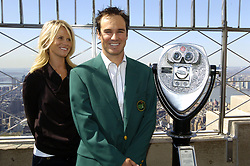 Apr 15, 2008 - Manhattan, NY, USA - GOLF: 2008 Masters Champion, South Africa's TREVOR IMMELMAN with his wife CARMENITA tours the Empire State Building's 86th floor observatory and 102nd floor lookout.  (Credit Image: © Bryan Smith/ZUMA Press) RESTRICTIONS: New York City Papers RIGHTS OUT!