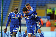 Cardiff City's Sean Morrison (4)  celebrates with team mate Anthony Pilkington and Sol Bamba (l) after scoring his teams 1st goal.  EFL Skybet championship match, Cardiff city v Huddersfield Town at the Cardiff city stadium in Cardiff, South Wales on Saturday 19th November 2016.<br /> pic by Carl Robertson, Andrew Orchard sports photography.