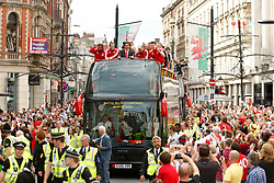 File photo dated 08-07-2016 of the Wales squad on a open top bus during the Euro 2016 homecoming in Cardiff City centre. Issue date: Tuesday June 1, 2021.