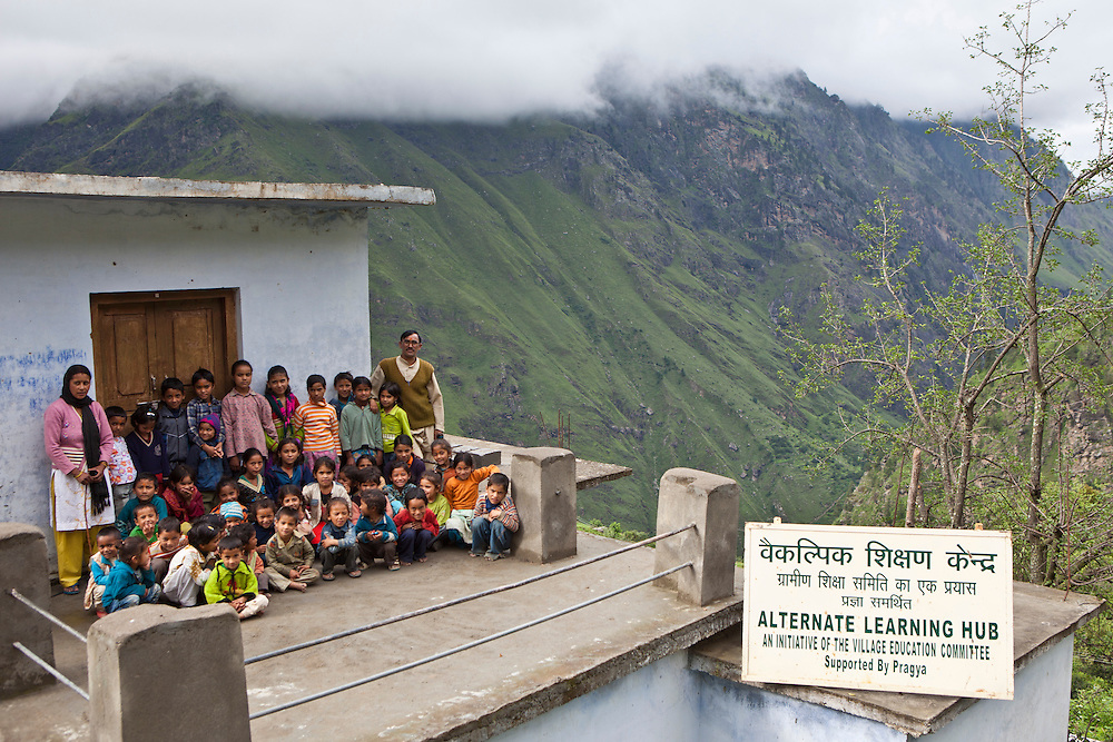 The children and teachers on the roof of their school at the Alternate Learning Hub, Subhai, Himalayas, India. The school is organized and funded by the Pragya charity.  Pragya is a non-profit organization providing education and information services in high altitude areas in the Himalayas.