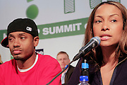 """Terrence J, Valiesha Butterfield at the Hip-Hop Summit's """"Get Your Money Right"""" Financial Empowerment International Tour draws hip-hop stars and financial experts to teach young people about financial literacy held at The Johnson C. Smith University's Brayboy Gymnasium on April 26, 2008..For the past three years, hip-hop stars have come out around the country to give back to their communities. Sharing personal stories about the mistakes they've made with their own finances along the way, and emphasizing the difference between the bling fantasy of videos and the realities of life, has helped young people learn the importance of financial responsibility while they're still young. With the recent housing market crash in the United States affecting the economy, jobs, student loans and consumer confidence, young people are eager to receive sound financial advice on how to best manage their money and navigate through this volatile economic environment.."""