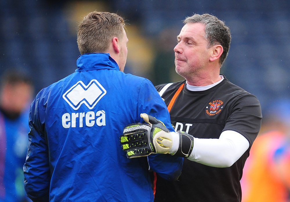 Blackpool Goalkeeper Coach Dave Timmins with Ryan Allsop during the pre-match warm-up <br /> <br /> Photographer Kevin Barnes/CameraSport<br /> <br /> The EFL Sky Bet League One - Shrewsbury Town v Blackpool - Saturday 16th December 2017 - New Meadow - Shrewsbury<br /> <br /> World Copyright © 2017 CameraSport. All rights reserved. 43 Linden Ave. Countesthorpe. Leicester. England. LE8 5PG - Tel: +44 (0) 116 277 4147 - admin@camerasport.com - www.camerasport.com