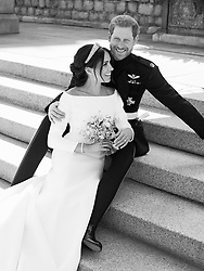 NOTE: BLACK AND WHITE ONLY. NEWS EDITORIAL USE ONLY. NO COMMERICAL USE. NO MERCHANDISING, ADVERTISING, SOUVENIRS, MEMORABILIA or COLOURABLY SIMILAR. NOT FOR USE AFTER 31 DECEMBER, 2018 WITHOUT PRIOR PERMISSION FROM KENSINGTON PALACE. NO CROPPING. Copyright in the photograph is vested in The Duke and Duchess of Sussex. Publications are asked to credit the photographs to Alexi Lubomirski. No charge should be made for the supply, release or publication of the photograph. The photograph must not be digitally enhanced, manipulated or modified in any manner or form and must include all of the individuals in the photograph when published. This official wedding photograph released by the Duke and Duchess of Sussex shows the Duke and Duchess pictured together on the East Terrace of Windsor Castle.