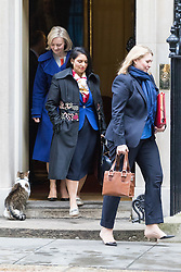 Downing Street, London, November 15th 2016.  Justice Secretary and Lord Chancellor Liz Truss (left), International Development Secretary Priti Patel and Secretary of State for Culture, Media and Sport Karen Bradley leave Downing Street following the weekly cabinet meeting.