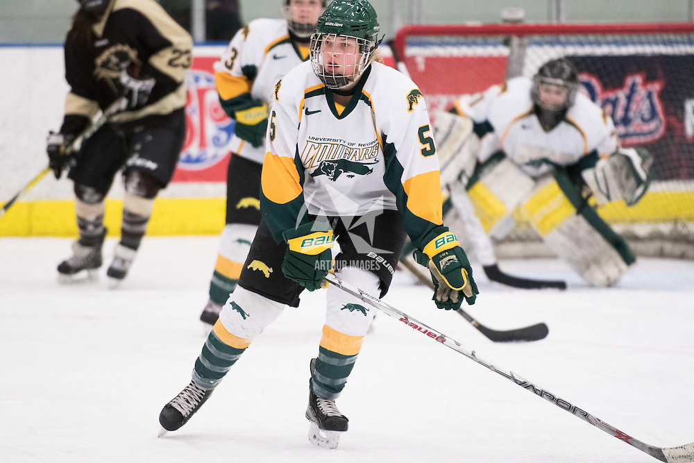 2nd year forward Jaycee Magwood (5) of the Regina Cougars  of the Regina Cougars in action during the Women's Hockey home game on January 7 at Co-operators arena. Credit: Arthur Ward/Arthur Images