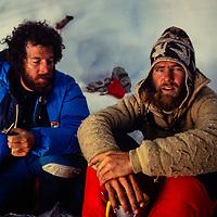 Dr. Peter Hackett and Jay Jensen in snow cave, Baruntse, 1980.