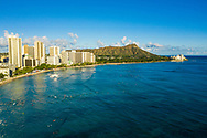 Aerial view of Waikiki Beach, Honolulu, Oahu, Hawaii