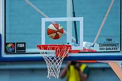 Ball and basket during a European Championship qualifier Netherlands - Hungary