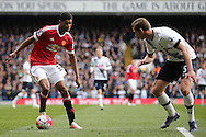 Marcus Rashford of Manchester United is marked by Jan Vertonghen of Tottenham Hotspur. Barclays Premier league match, Tottenham Hotspur v Manchester Utd at White Hart Lane in London on Sunday 10th April 2016.<br /> pic by John Patrick Fletcher, Andrew Orchard sports photography.