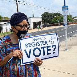 NAACP volunteers including Dr. B.A. Jones,  help register Travis County, Texas voters in east Austin during a push to engage voters before the early October deadline. Texas, usually a solid Republican stronghold, might prove to be a battleground on November 3rd.