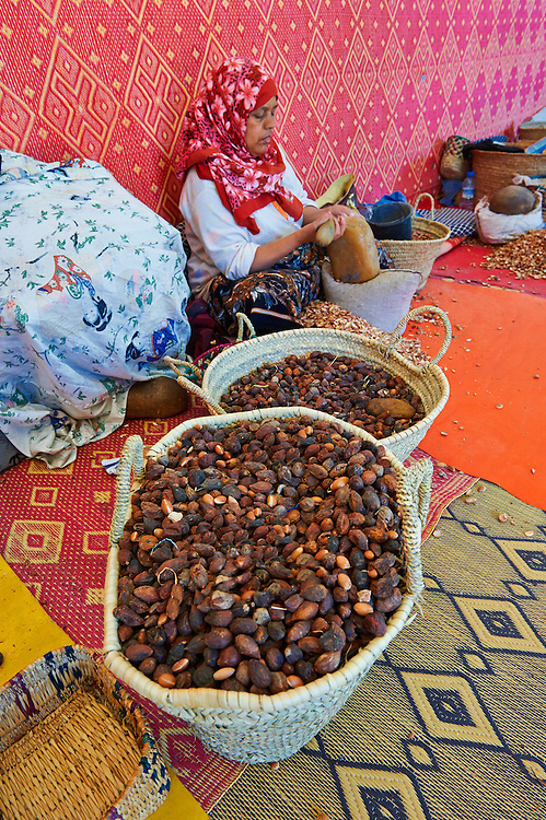 Women cracking Argan nuts at the Cooperative Marjana, Ounara, Essouira, Morocco .<br /> <br /> Visit our MOROCCO HISTORIC PLACES PHOTO COLLECTIONS for more   photos  to download or buy as prints https://funkystock.photoshelter.com/gallery-collection/Morocco-Pictures-Photos-and-Images/C0000ds6t1_cvhPo
