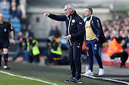 Claudio Ranieri, the Leicester City manager shouting instructions from the touchline. The Emirates FA Cup 5th round match, Millwall v Leicester City at The Den in London on Saturday 18th February 2017.<br /> pic by John Patrick Fletcher, Andrew Orchard sports photography.