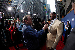 Draft Prospect Fletcher Cox speaks to the media on the red carpet before the first round of the NFL Draft on April 26th 2012 at Radio City Music Hall in New York, New York. (AP Photo/Brian Garfinkel)