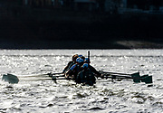 Putney, London, Varsity, Tideway Week, 5th April 2019, CUBC Blue Boat, traing on the River Thames, at Hammersmith, Oxford/ Cambridge Media week, Championship Course,<br /> [Mandatory Credit: Patrick WHITE], Friday,  05.04.19,
