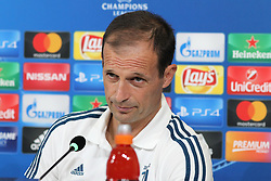 September 26, 2017 - Turin, Piedmont, Italy - Massimiliano Allegri, head coach of Juventus FC, speaks during the Juventus FC press conference on the eve of  the UEFA Champions League (Group D) match between Juventus FC and Olympiakos FC  at Allianz Stadium on 26 September, 2017 in Turin, Italy. (Credit Image: © Massimiliano Ferraro/NurPhoto via ZUMA Press)