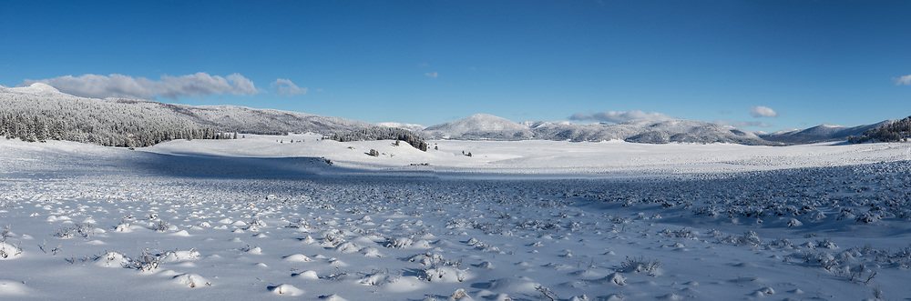 Fresh snow in the Valle Grande, largest caldera in Valles Caldera National Preserve, Jemez Mountains, NM, © David A. Ponton (This is  large file suitable for wall panorama)