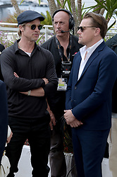 "director Quentin Tarantino, actress Margot Robbie, actors Brad Pitt and Leonardo di Caprio attending film ""Once upon a time in ... Hollywood"" photocall at 72nd Cannes film festival. 22 May 2019 Pictured: Brad Pitt, Leonardo Di Caprio. Photo credit: maximon / MEGA TheMegaAgency.com +1 888 505 6342"