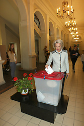 May 25, 2019 - Riga, Latvia, Latvia - Latvia, Riga, 25.05.2019. Elections to the European Parliament. In the picture: the Chairman of the Seimas (speaker) of Latvia Inara Murniece votes. (Credit Image: © Russian Look via ZUMA Wire)