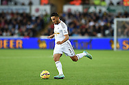 Neil Taylor of Swansea city. Barclays Premier league match, Swansea city v Leicester city at the Liberty stadium in Swansea, South Wales on Saturday 25th October 2014<br /> pic by Andrew Orchard, Andrew Orchard sports photography.