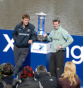 Putney, London,  Sjoerd HAMBURGER, President OUBC, and Deaglan MCEACHERN, President CUBC, with the Boat Race Trophy,  on the Podium waiting for The Toss, at Putney Hard,156th University Boat Race, River Thames, between Putney and Chiswick, on the Championship Course.  Saturday  03/04/2010 [Mandatory Credit Karon Phillips/Intersport Images]