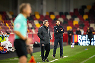Middlesbrough manager Neil Warnock and Brentford manager Thomas Frank look on from the touchline during the EFL Sky Bet Championship match between Brentford and Middlesbrough at Brentford Community Stadium, Brentford, England on 7 November 2020.