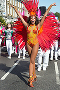 Hackney Carnival on 8th September 2019 in London, United Kingdom. Paraiso school of samba performer and dancer.