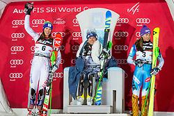"Petra Vlhova (SVK), Veronika Velez Zuzulova (SVK), Sarka Strachova (CZE) during  Flower Ceremony after the FIS Alpine Ski World Cup 2016/17 Ladies Slalom race named ""Snow Queen Trophy 2017"", on January 3, 2017 in Course Crveni Spust at Sljeme hill, Zagreb, Croatia. Photo by Ziga Zupan / Sportida"