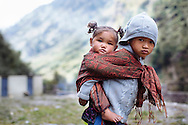 Children in Tilche in the Manang District in northern Nepal