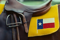 horse saddle with a Texas flag yellow blanket