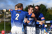 Alex Byrne of Matlock Town (M) celebrating with his fellow team mates after he just scored their third goal against Ashton United during the Northern Premier League match between Matlock FC and Ashton United at the Proctor Cars Stadium on October 10th, 2020 in Matlock, Derbyshire. Local fans welcomed to watch the match maintaining Government's Covid-19 guidelines. (VXP Photo/ Shaun Hardwick)