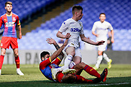 Jack Clarke of Leeds United U23 takes a tumble during the U23 Professional Development League match between U23 Crystal Palace and Leeds United at Selhurst Park, London, England on 15 April 2019.