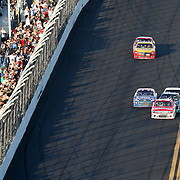 Sprint Driver Trevor Bayne (21) leads on the last lap during the Daytona 500 at Daytona International Speedway on February 20, 2011 in Daytona Beach, Florida. (AP Photo/Alex Menendez)