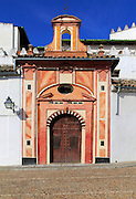 Attractive historic doorway and building in old inner city, Cordoba, Spain