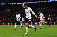 Son Heung-min of Tottenham Hotspur celebrates after scoring his teams second goal. Premier league match, Tottenham Hotspur v Brighton & Hove Albion at Wembley Stadium in London on Wednesday 13th December 2017.<br /> pic by Steffan Bowen, Andrew Orchard sports photography.
