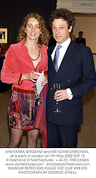 Artist EMMA SERGEANT and MR ADAM ZAMOYSKA, at a party in London on 7th May 2002.OZP 15