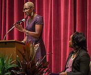 Houston ISD Trustee Jolanda Jones comments during a renaming ceremony at Bob Lanier Middle School, September 21, 2016.