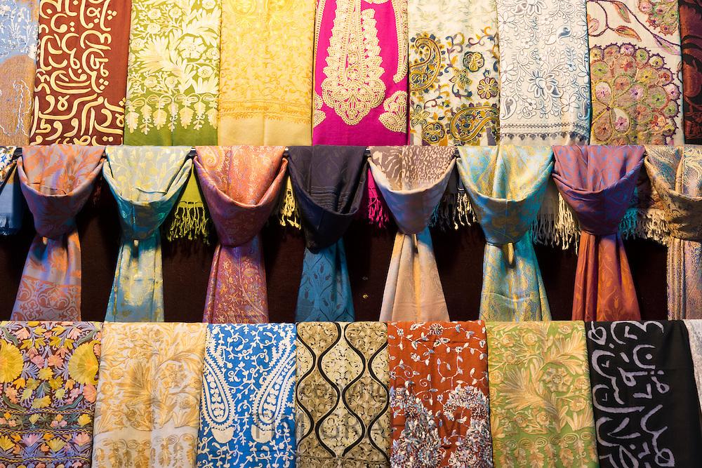 Scarf designs - silk, cashmere embroidered scarves in The Grand Bazaar, Kapalicarsi, great market, Beyazi, Istanbul, Turkey