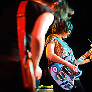 WASHINGTON, D.C. - March 10th, 2011: Mary Timony and Carrie Brownstein of WIld Flag perform at the Black Cat in Washington, D.C. The band consists of former members of Sleater-Kinney, Helium and The Minders and will record and release their debut album later this year.   (Photo by Kyle Gustafson/For The Washington Post)