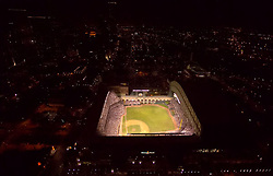 Aerial night view of Minute Maid Park in downtown Houston, Texas.
